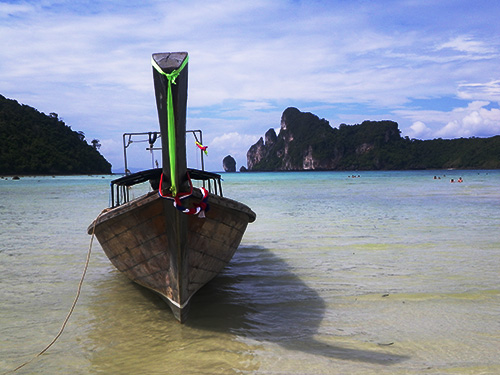 Longtail Boat at the beach on Koh Phi Phi Don