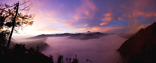 The sun rising over Gunung Bromo